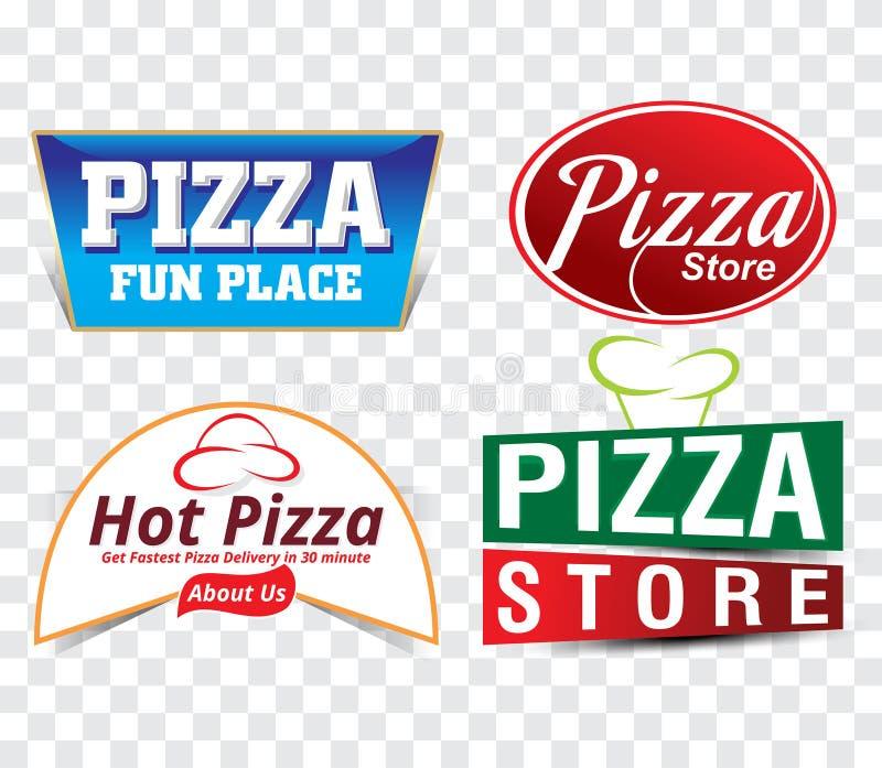 Modello stabilito dell'insegna del deposito della pizza illustrazione di stock