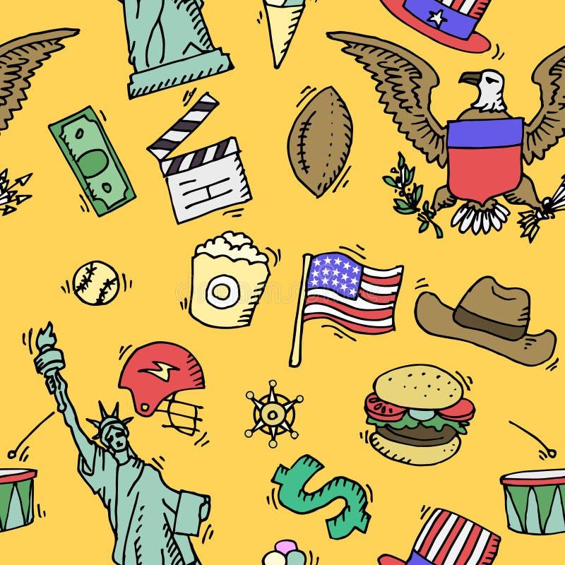 Modello stabilito di colore di scarabocchio americano royalty illustrazione gratis