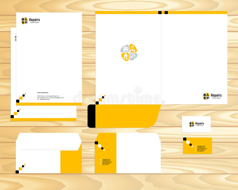 Modello stabilito di marca di affari corporativi di identità di progettazione visiva di vettore su fondo di legno illustrazione d royalty illustrazione gratis