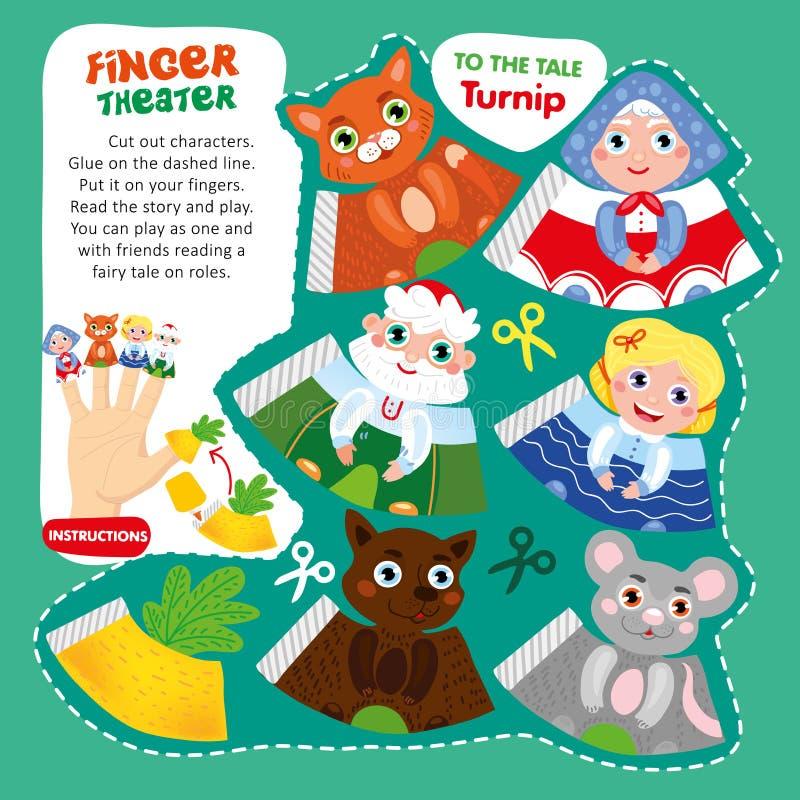 Modello stampabile del gioco del teatro del dito di racconto del bambino illustrazione di stock