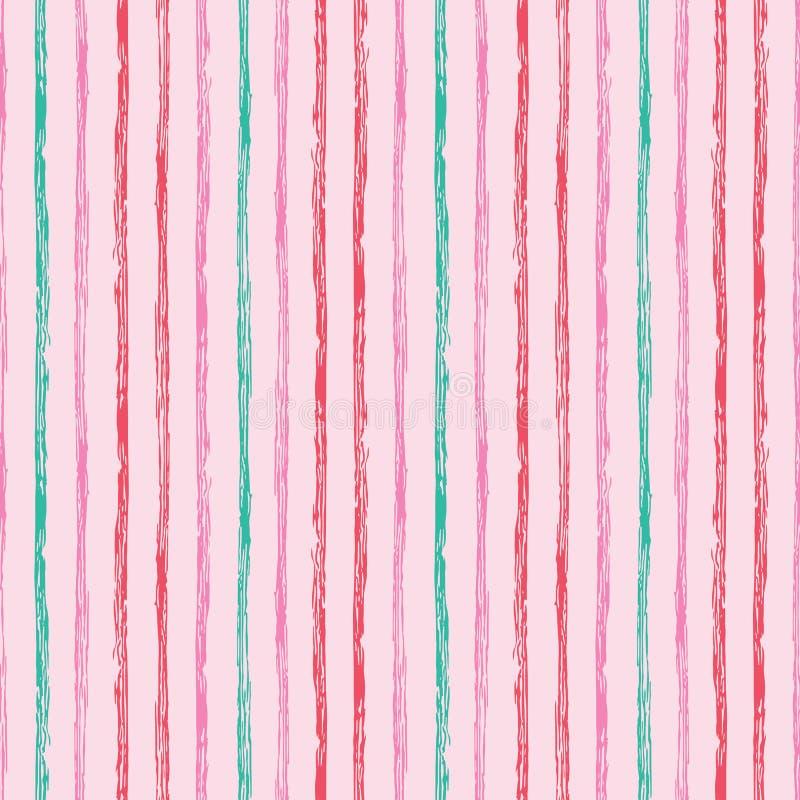 Modello a strisce della spazzola senza cuciture verticale di lerciume Bande variopinte su fondo rosa Modello senza cuciture con i illustrazione di stock