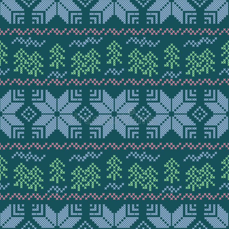 Modello a strisce di Natale senza cuciture ricamo Fiocchi di neve, alberi di Natale su un fondo blu royalty illustrazione gratis