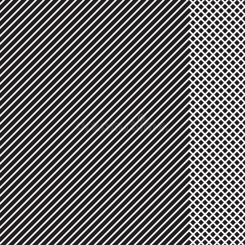 Modello a strisce geometrico con le linee continue nere con l'inserzione a quadretti su fondo bianco Vettore illustrazione di stock