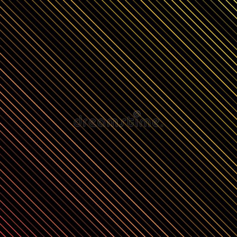 Modello a strisce geometrico con le linee diagonali parallele continue colorate su fondo nero Vettore illustrazione vettoriale