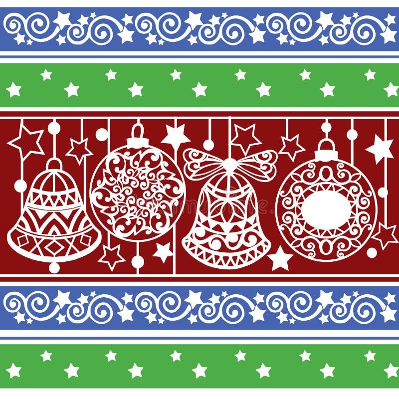 Modello a strisce variopinto con le palle e le campane di Natale Struttura di natale per la carta da parati, il fondo della pagin royalty illustrazione gratis