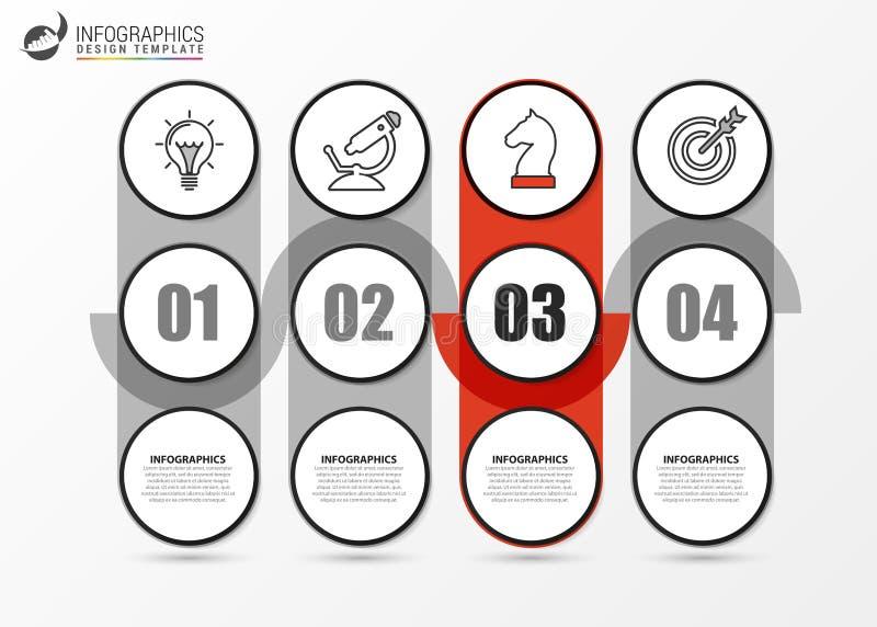 Modello struttura infografica Concetto creativo con 4 fasi illustrazione di stock