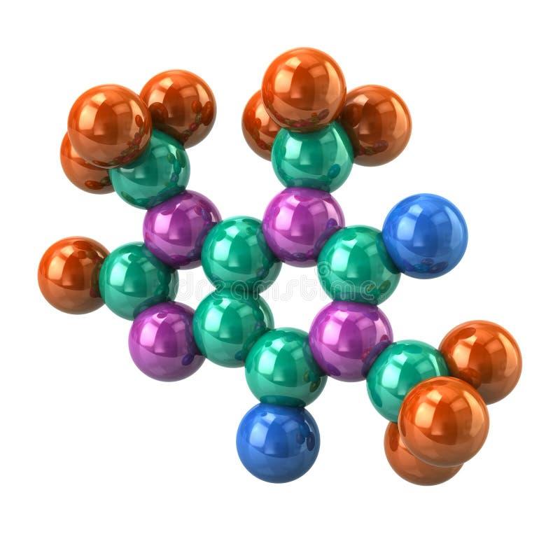 Modello strutturale della molecola della caffeina immagine stock
