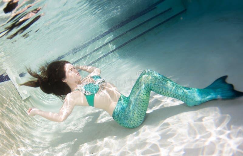 Modello subacqueo in uno stagno che indossa una coda delle sirene immagini stock