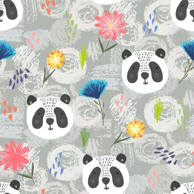 Modello sveglio del fumetto con il panda, i punti ed i fiori royalty illustrazione gratis