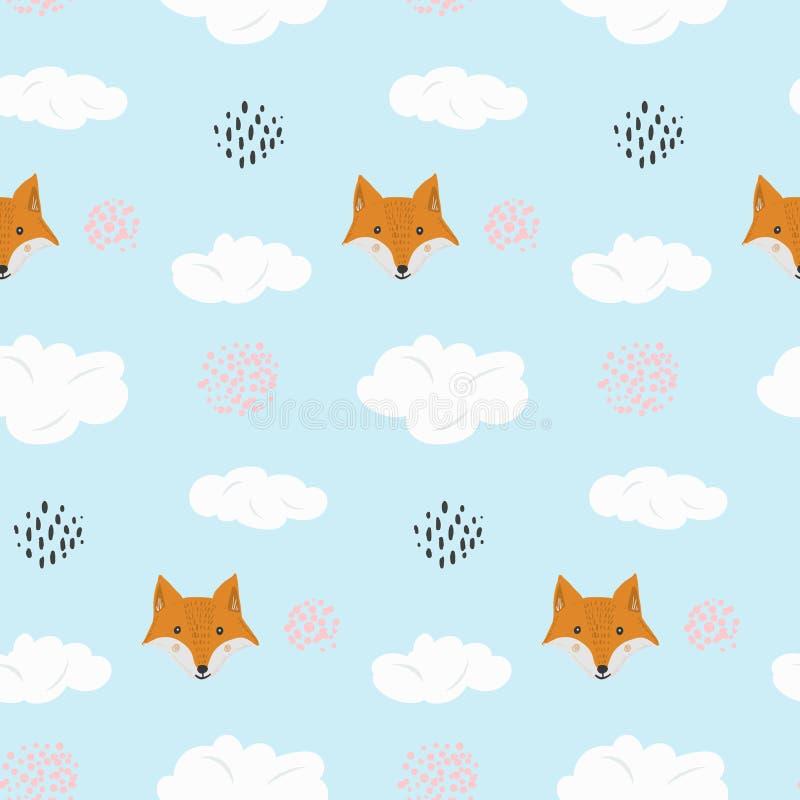 Modello sveglio del fumetto con la volpe e punti in nuvole royalty illustrazione gratis