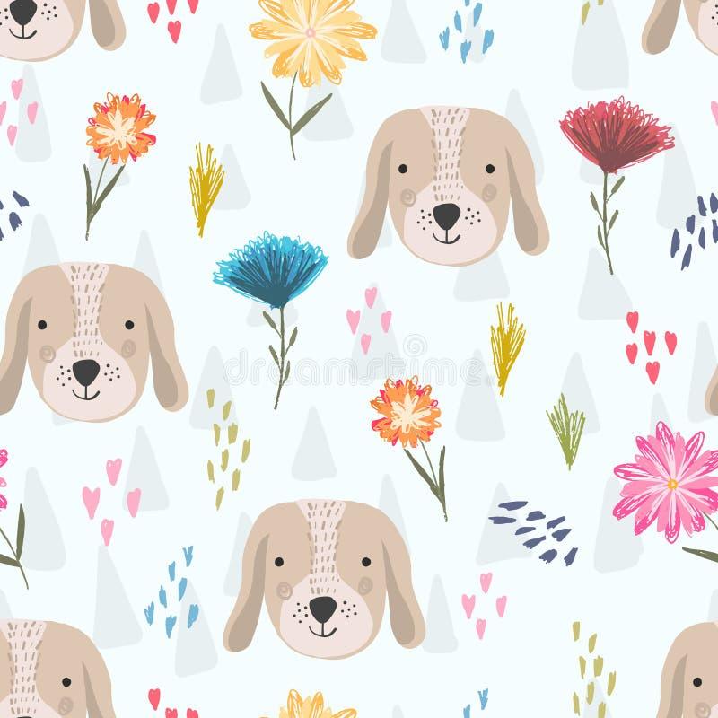 Modello sveglio del fumetto con le teste di cane ed i fiori illustrazione vettoriale
