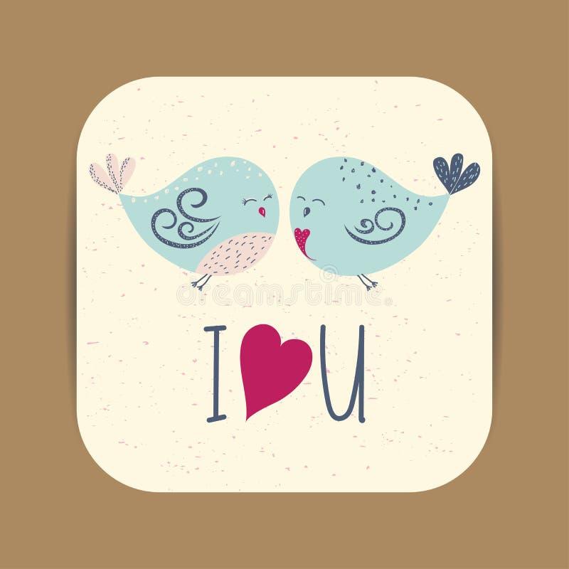 Modello sveglio della carta con due uccelli nell'amore per il San Valentino royalty illustrazione gratis