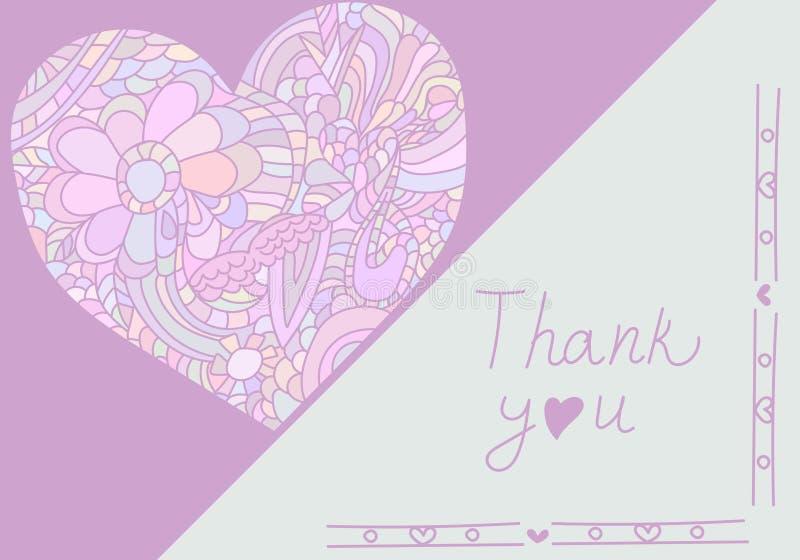 Modello sveglio della carta nei colori rosa Modello romantico alla moda della carta con cuore dello scarabocchio royalty illustrazione gratis