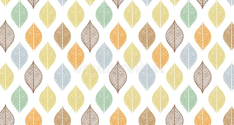 Modello sveglio della foglia di autunno di vettore Stampa astratta dell'insegna con le foglie Bello ornamento elegante della natu illustrazione di stock
