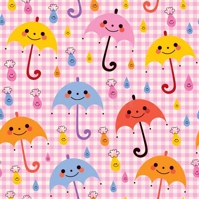 Modello sveglio della pioggia degli ombrelli illustrazione di stock