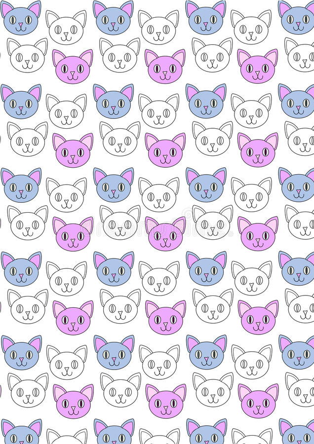 Modello sveglio di ripetizione dei gatti fotografia stock libera da diritti