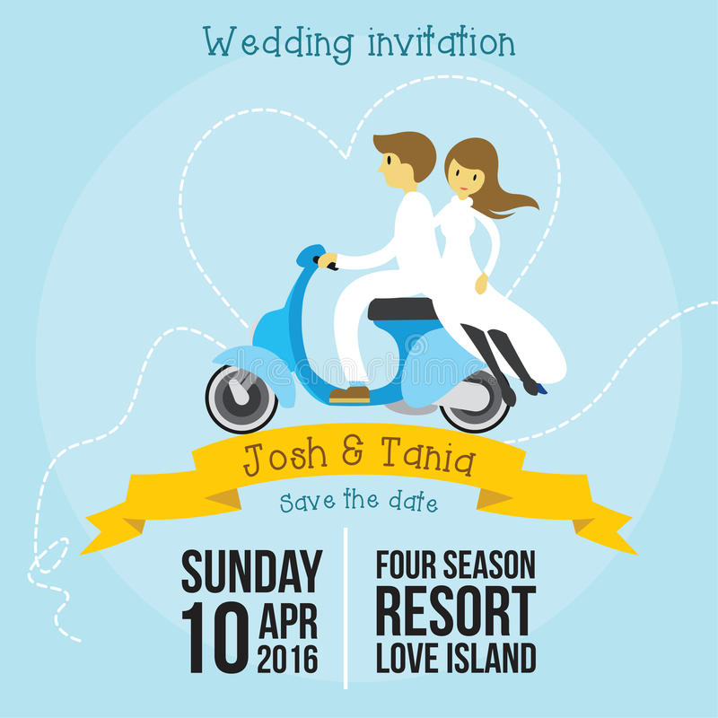 Modello sveglio di stile del fumetto dell'invito di nozze con fondo blu molle illustrazione di stock