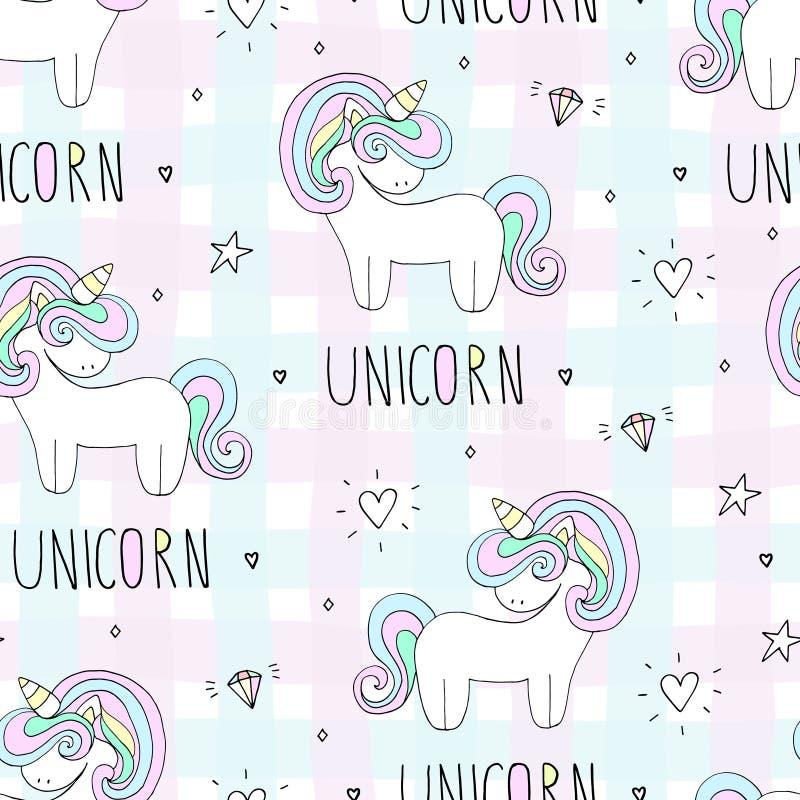 Modello sveglio di vettore dell'unicorno royalty illustrazione gratis
