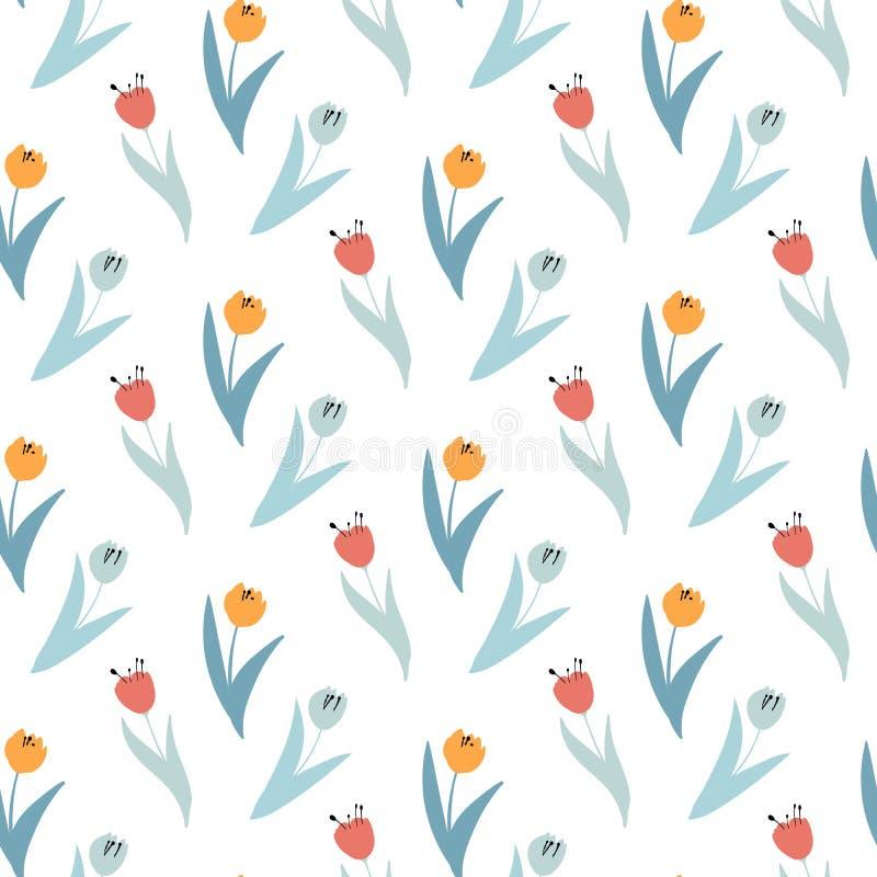 Modello sveglio in piccoli wildflowers e tulipani Fondo senza cuciture e confine senza cuciture royalty illustrazione gratis