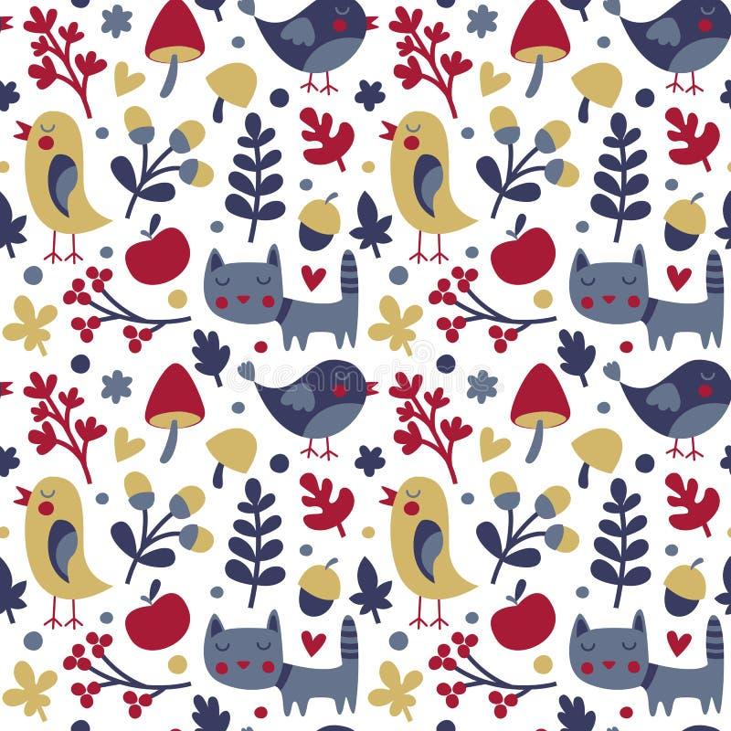 Modello sveglio senza cuciture di autunno fatto con il gatto, uccello, fiore, pianta, foglia, bacca, cuore, amico, floreale, natu immagini stock
