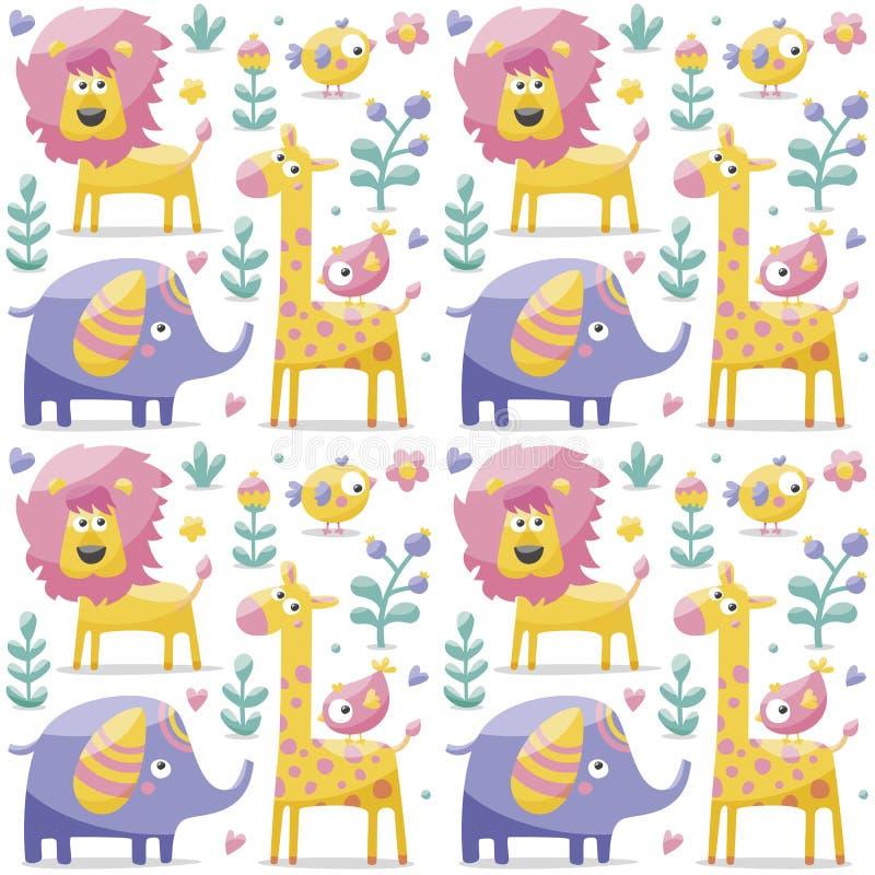 Modello sveglio senza cuciture fatto con gli elefanti, leone, giraffa, uccelli, piante, giungla, fiori, cuori, foglie, pietra, ba fotografia stock libera da diritti