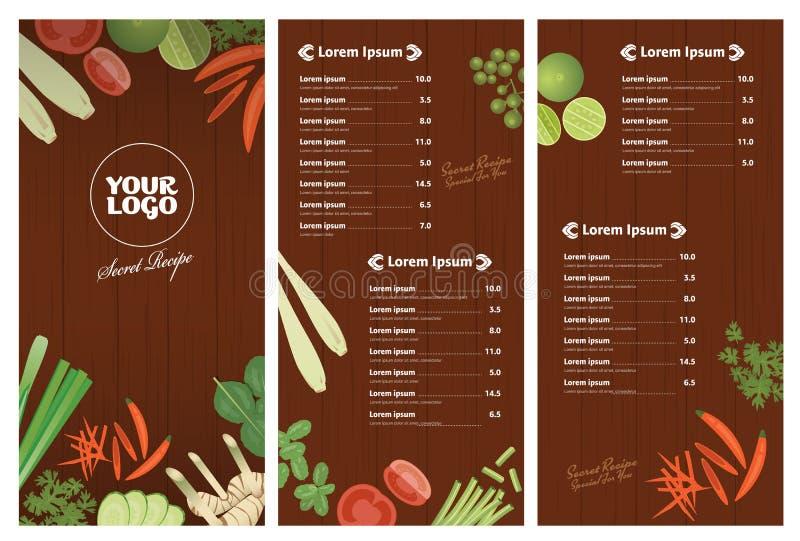 Modello tailandese del menu del ristorante degli ingredienti su fondo di legno illustrazione vettoriale