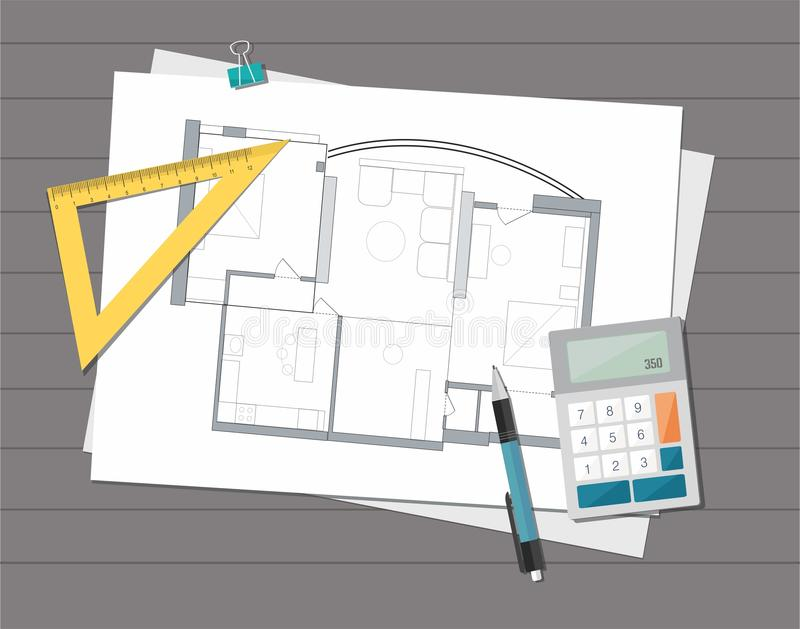 Modello tecnico della pianta della casa dell'architetto di progetto Priorità bassa della costruzione illustrazione vettoriale