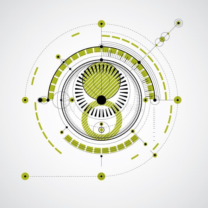 Modello tecnico, fondo digitale di vettore verde con geomet illustrazione di stock