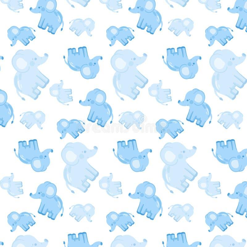 Modello tenero senza cuciture del ` s dei bambini con gli elefanti blu immagini stock