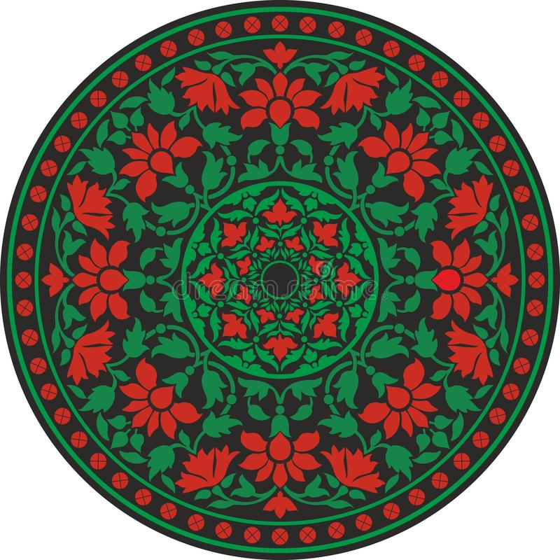 Modello tradizionale indiano a colori - fiorisca la mandala illustrazione vettoriale