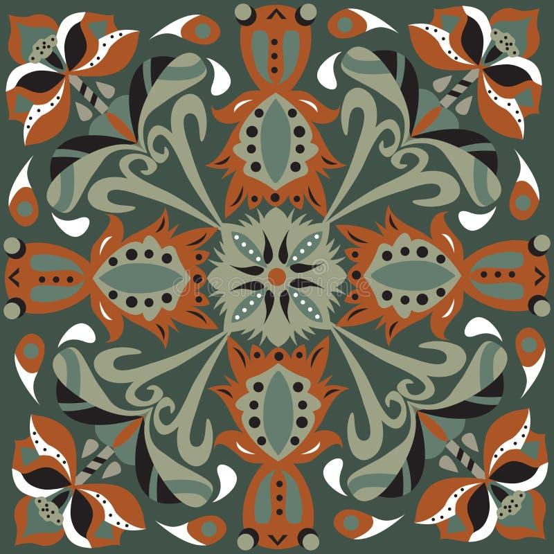 Modello tradizionale orientale del quadrato del pesce rosso del fiore di loto immagini stock