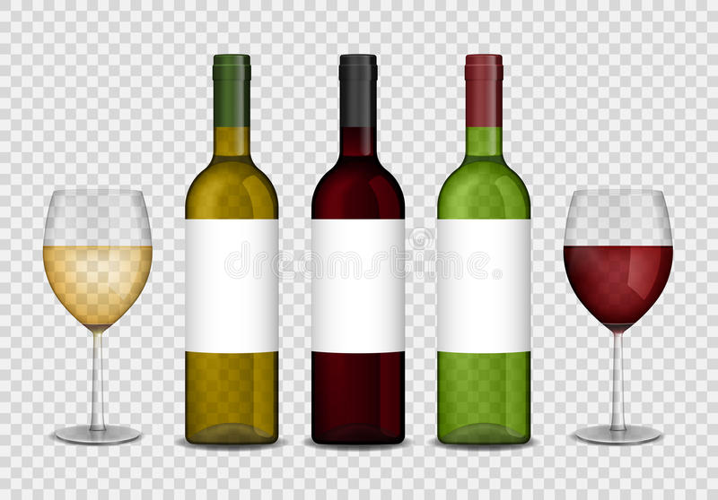 Modello trasparente delle bottiglie e dei bicchieri di vino di vino vino rosso e bianco in bottiglia e vetri Illustrazione di vet royalty illustrazione gratis
