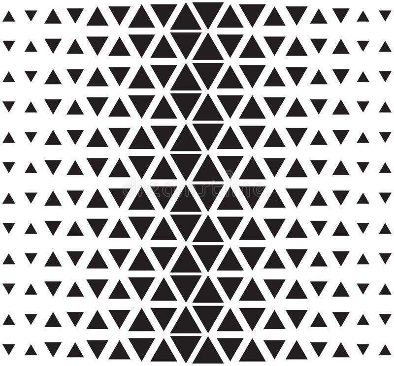 Modello triangolare astratto di semitono di vettore Illustrazione in bianco e nero senza cuciture del triangolo illustrazione di stock