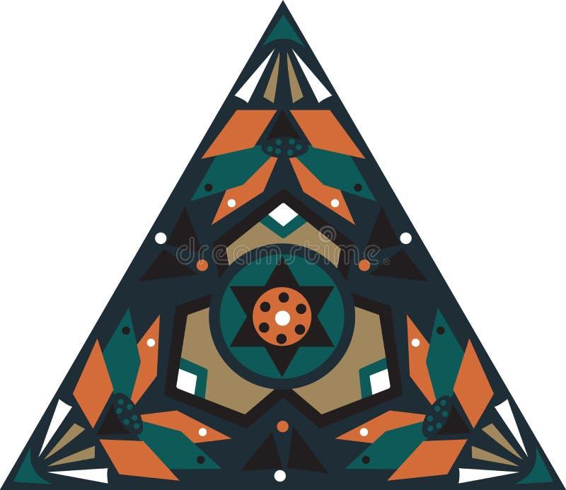 Modello triangolare tradizionale orientale del fiore di loto immagine stock