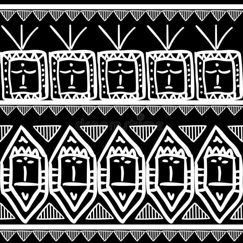Modello tribale di vettore con il fondo di disegno di maya in bianco e nero senza cuciture di colori r royalty illustrazione gratis