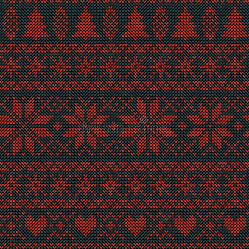 Modello tricottante nordico di vettore di Natale senza cuciture con gli abeti, i fiocchi di neve, i fiori o i cuori royalty illustrazione gratis