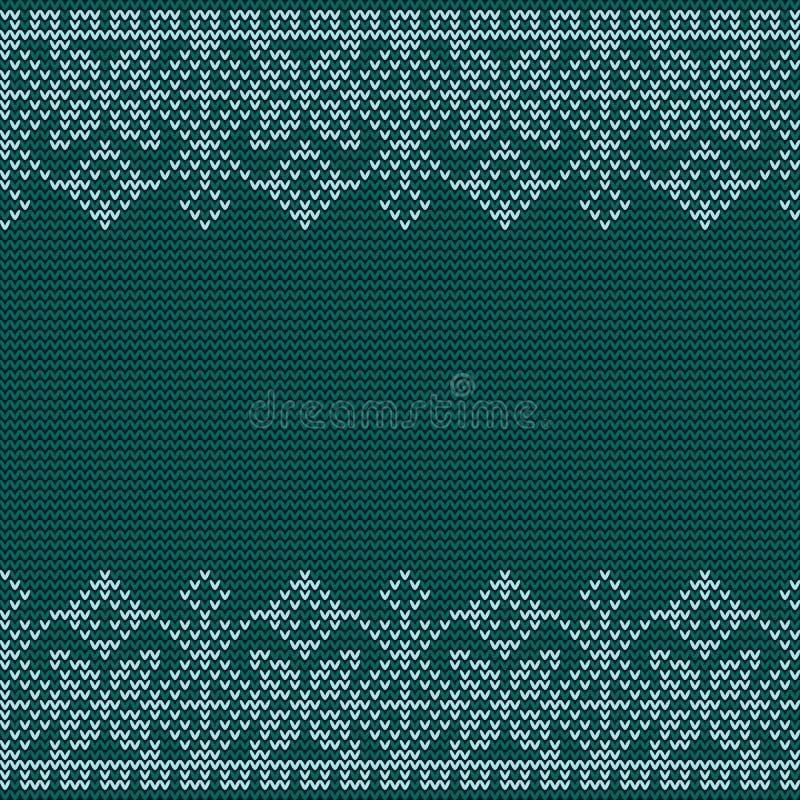 Modello tricottante nordico di vettore di Natale senza cuciture con il confine dell'ornamento decorativo bianco illustrazione di stock