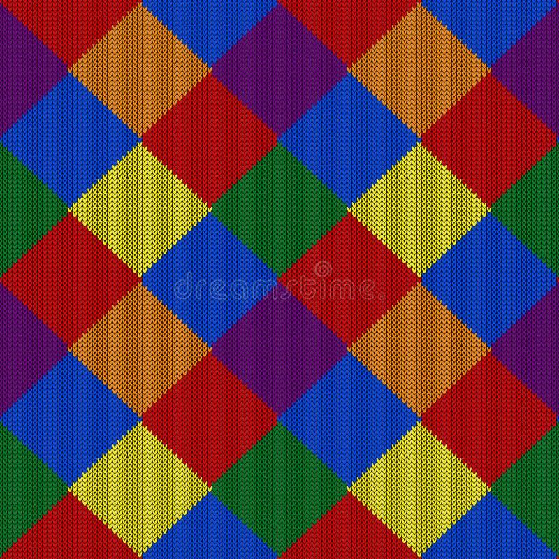 Modello tricottato astratto di colore di LGBTQ Modello senza cuciture di colore dell'arcobaleno Progetti per struttura del maglio immagini stock libere da diritti