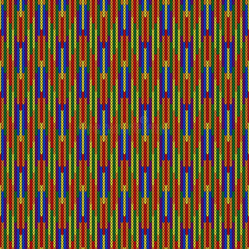 Modello tricottato astratto di colore di LGBTQ Modello senza cuciture di colore dell'arcobaleno Progetti per struttura del maglio immagine stock