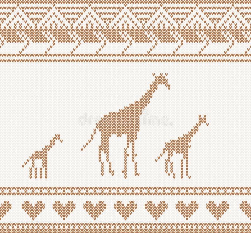 Modello tricottato con la giraffa illustrazione vettoriale