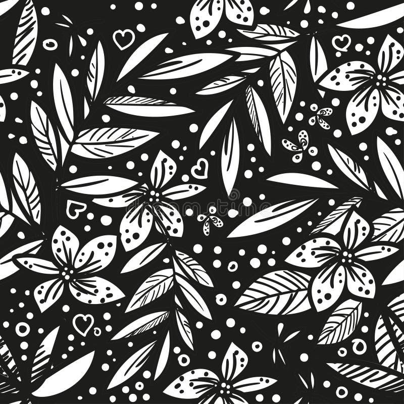 Modello tropicale artistico senza cuciture con la foglia tropicale, divertimento di vettore in bianco e nero di vettore bello del illustrazione vettoriale