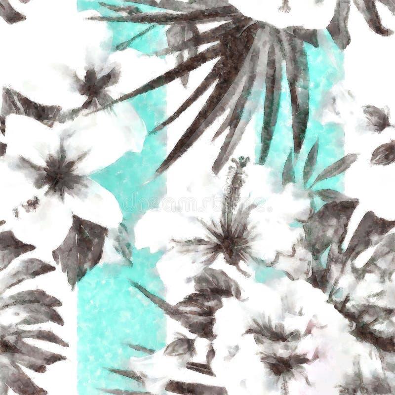 Modello tropicale astratto in bianco e nero con una banda blu royalty illustrazione gratis