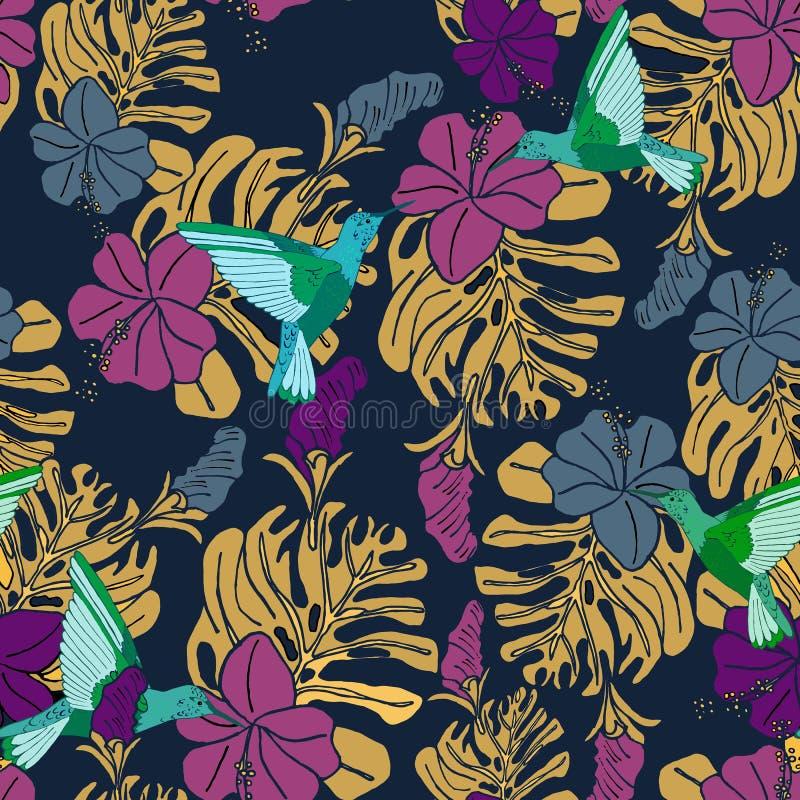 Modello tropicale con i colibrì, le foglie di palma ed i fiori dell'ibisco royalty illustrazione gratis