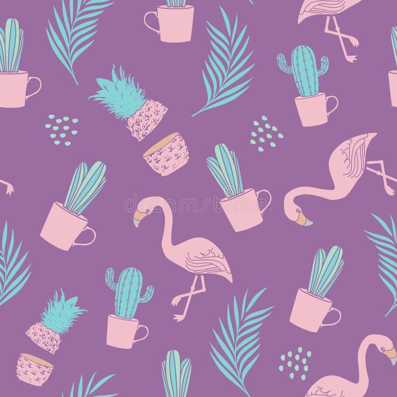 Modello tropicale del fenicottero con il tema esotico di estate della spiaggia sull'illustrazione porpora di vettore del fondo royalty illustrazione gratis