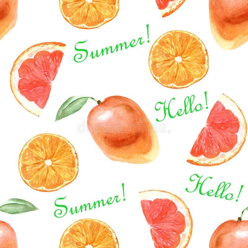 Modello tropicale dell'acquerello con l'arancia su un fondo bianco royalty illustrazione gratis