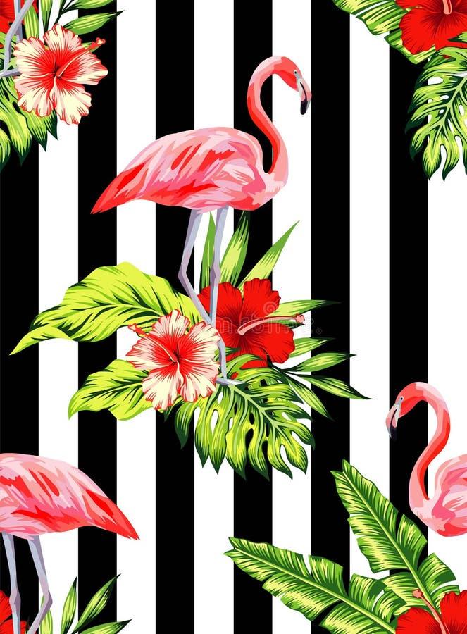 Modello tropicale dell'ibisco e del fenicottero, fondo a strisce illustrazione di stock