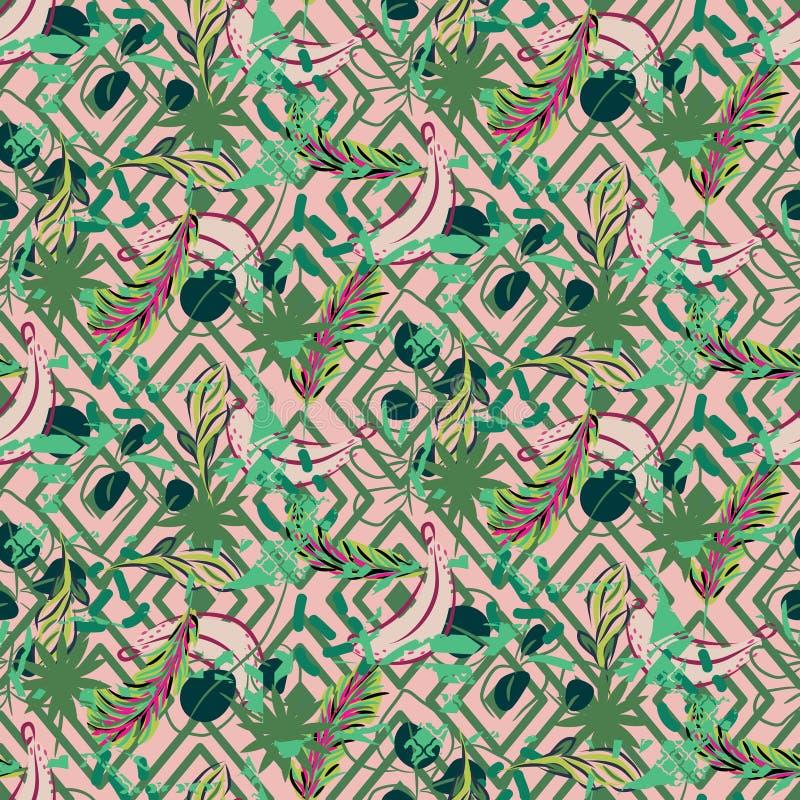 Modello tropicale della palma della pianta esotica della giungla di fusione Carta da parati geometrica della natura senza cucitur royalty illustrazione gratis