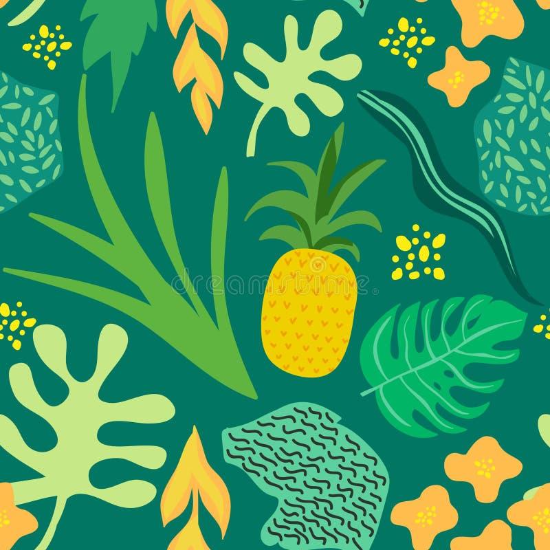 Modello tropicale delle foglie e dei fiori Retro fondo d'avanguardia senza cuciture Memphis Style degli ananas Progettazione dell illustrazione di stock