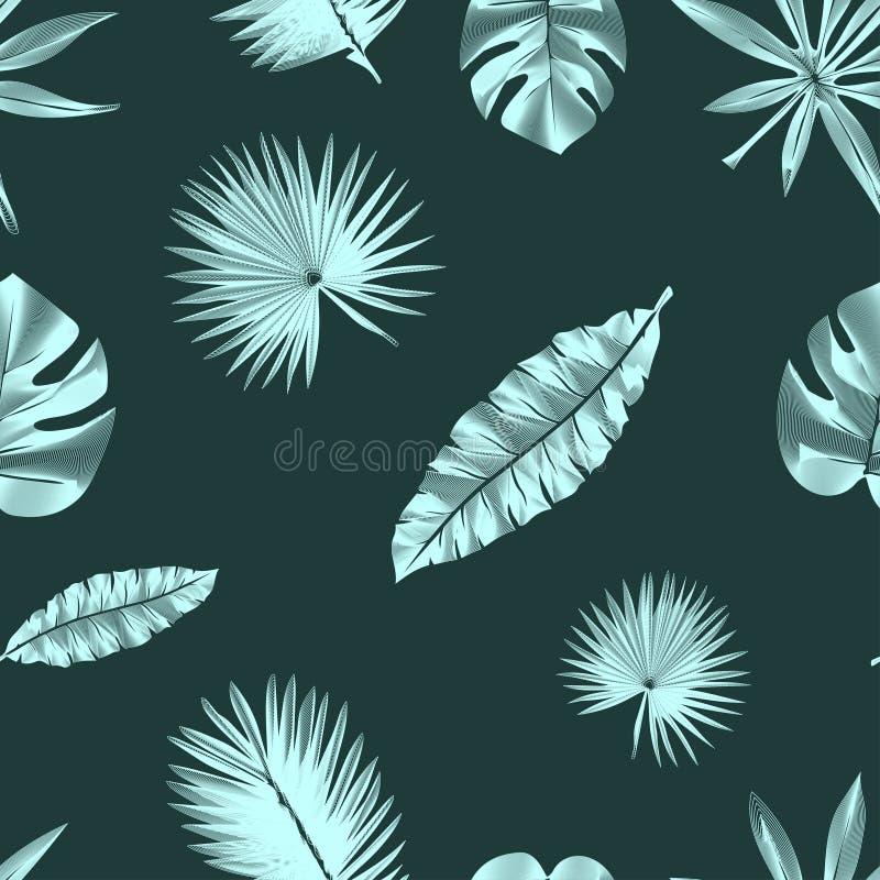 Modello tropicale di contorno senza cuciture, con le foglie esotiche illustrazione vettoriale