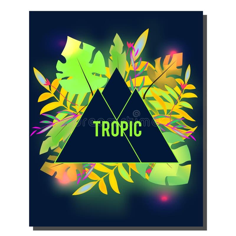 Modello tropicale di progettazione dell'aletta di filatoio Foglie tropicali con l'ardore al neon Pubblicità, fondo Night-club, di royalty illustrazione gratis